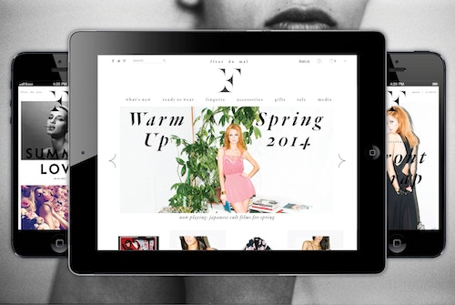 Application of different pages of the website developed for Fleur Du Mal displayed on a tablet and an iPhone