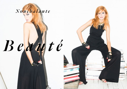 "Two photos of a model in a black jumpsuit pausing, with the quote ""Careless beauty"" in French"