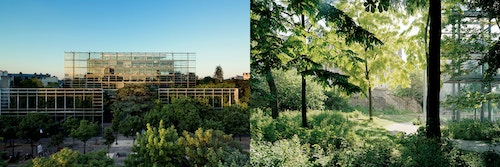 Photo collage of the exterior of Fondation Cartier by day