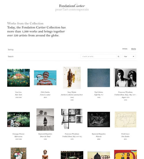 View of the website page developed for Fondation Cartier's collections
