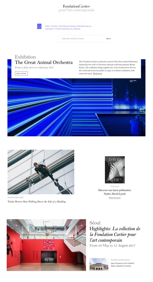 View of the website page developed for Fondation Cartier's exhibitions