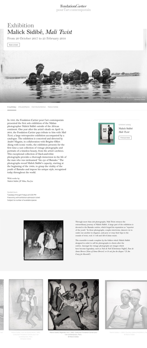 A page of the website developed for Fondation Cartier presenting the exhibitions