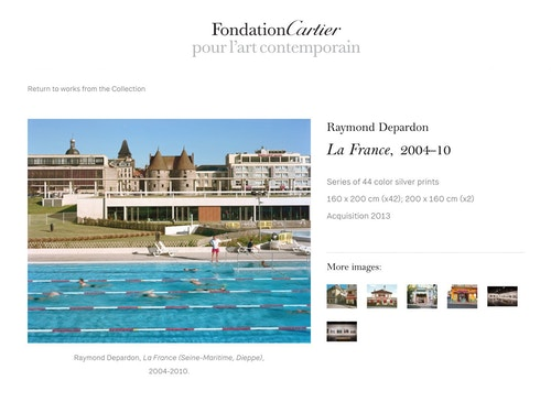View of the gallery on the website developed for Fondation Cartier