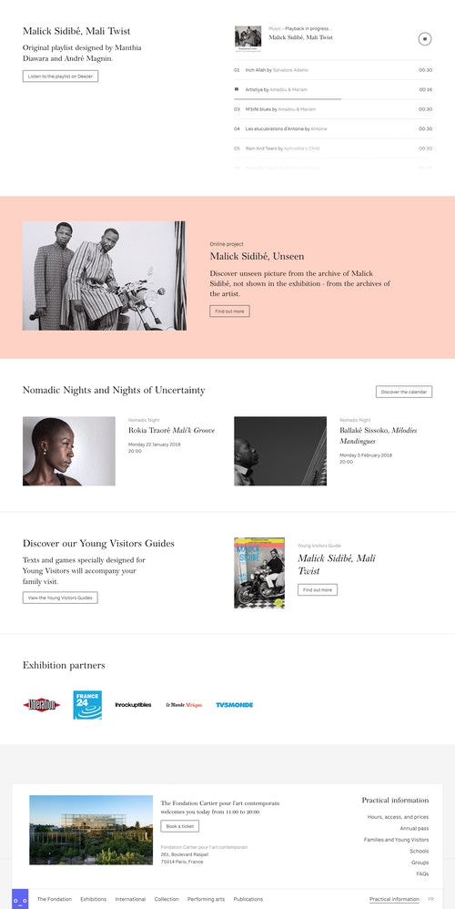 Homepage of the website developed for Fondation Cartier