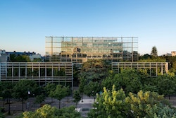Facade of the building of Fondation Cartier by day