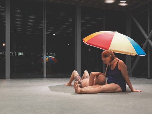 A sculpture by Ron Mueck at a Fondation Cartier exhibition