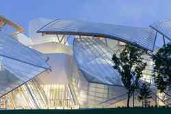 View of the building of Fondation Louis Vuitton in Paris