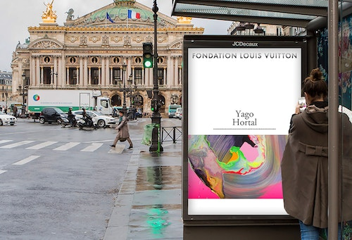 A poster designed for Fondation Louis Vuitton on a bus bench ad screen