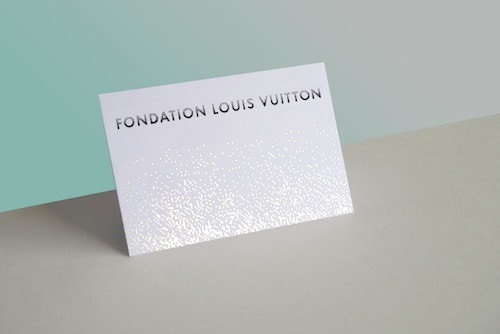 Shiny card designed for Fondation Louis Vuitton