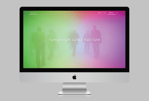 Homepage of the Fondation Louis Vuitton website on desktop