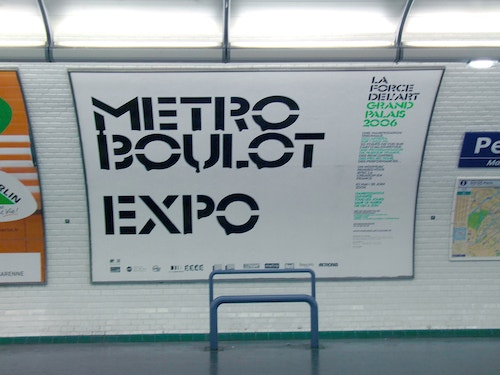 An application of Grand Palais campaign in the parisian subway