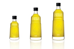Three different sizes of bottles of olive oil made by Herdeiros Passanha