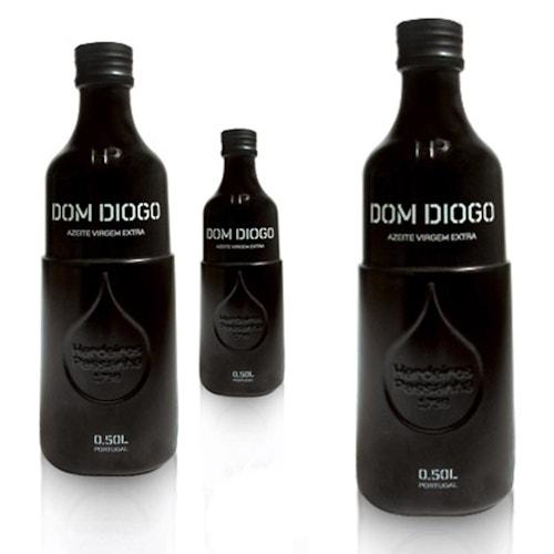 Three black bottles of olive oil designed for Herdeiros Passanha