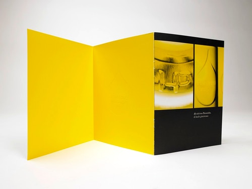 The brochure designed for the brand Herdeiros Passanha unfolded on a table