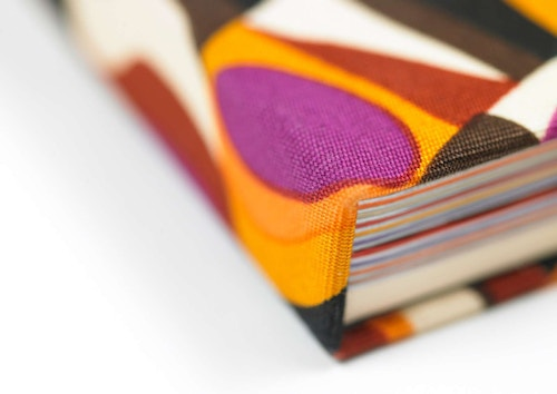 Close-up view of the cloth cover of the Hotel Missoni book
