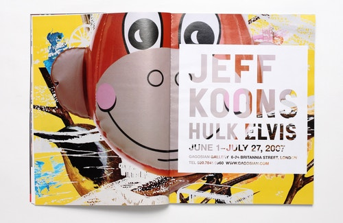 A spread of the book designed for Jeff Koons, featuring the illustration of the Monkey Train