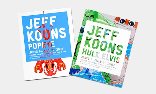 "Top view of two books designed for Jeff Koons: ""Popeye"" and ""Hulk Elvis"", on a white table"