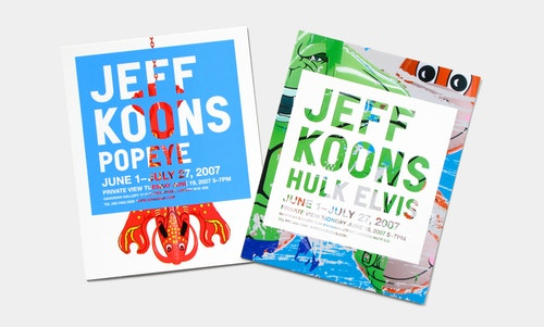 """Top view of two books designed for Jeff Koons: """"Popeye"""" and """"Hulk Elvis"""", on a white table"""