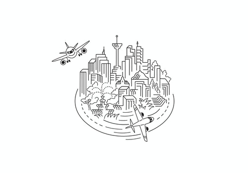 Illustration representing New York City with planes flying around