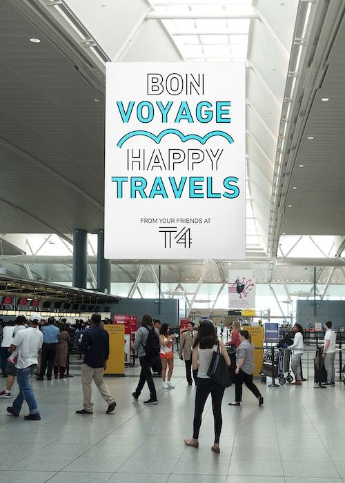 Large poster wishing passengers a bon voyage in Jfk Terminal 4