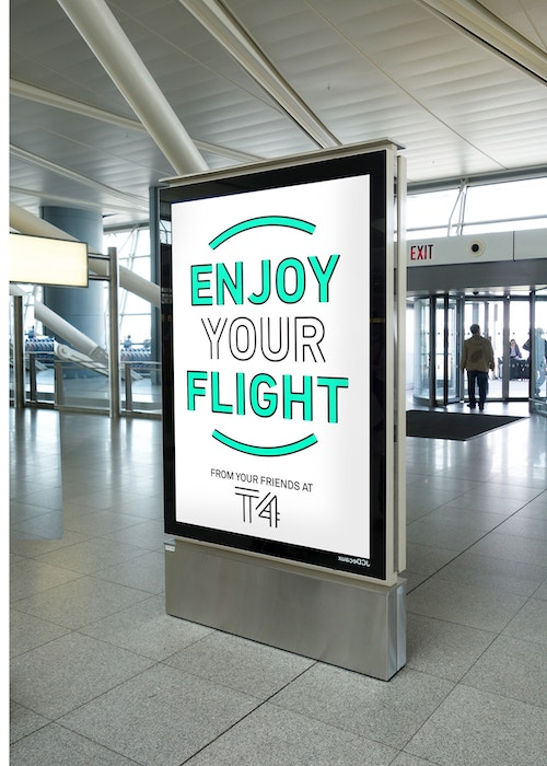 Poster wishing passengers a good flight in Jfk Terminal 4