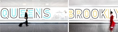 Photo collage of visitors walking through the Jfk Terminal 4 with signage designed by Base
