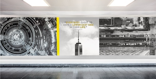 A signage designed for Jfk Terminal 4 consisting of black and white photos of New York under different angles and a quote on a signage designed for Jfk Terminal 4