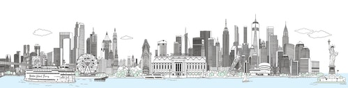 A banner illustration of the city of New York