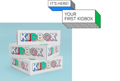 A pile of boxes designed for Kidbox