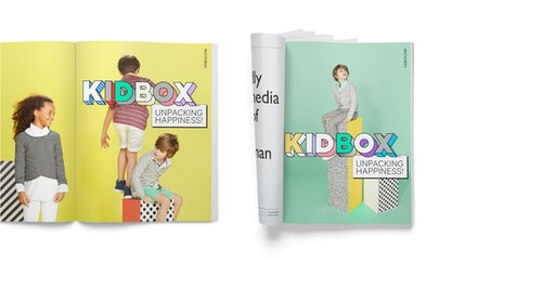Opened magazines with Kidbox communication campaign