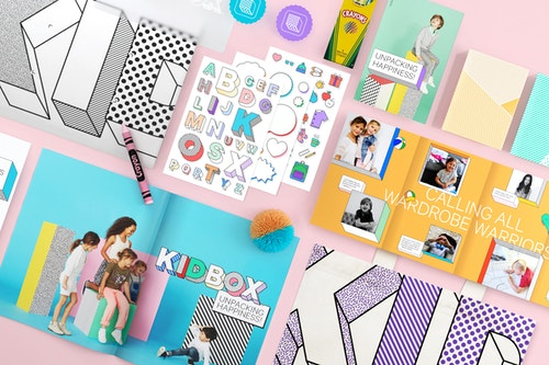 A set of different branded materials designed for Kidbox identity and communication