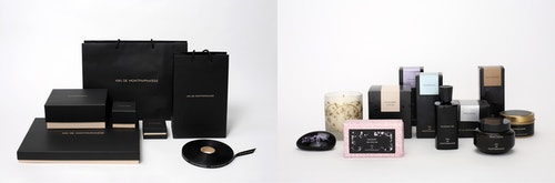 Photo collage of different packaging designed for Kiki de Montparnasse