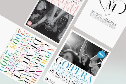 Top view of a set of colorful flyers designed for La Monnaie De Munt