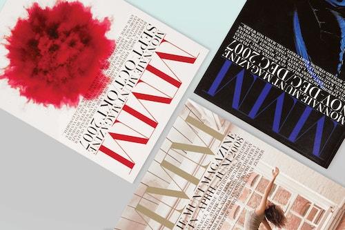 Top view of a set of magazines designed for La Monnaie de Munt on a table