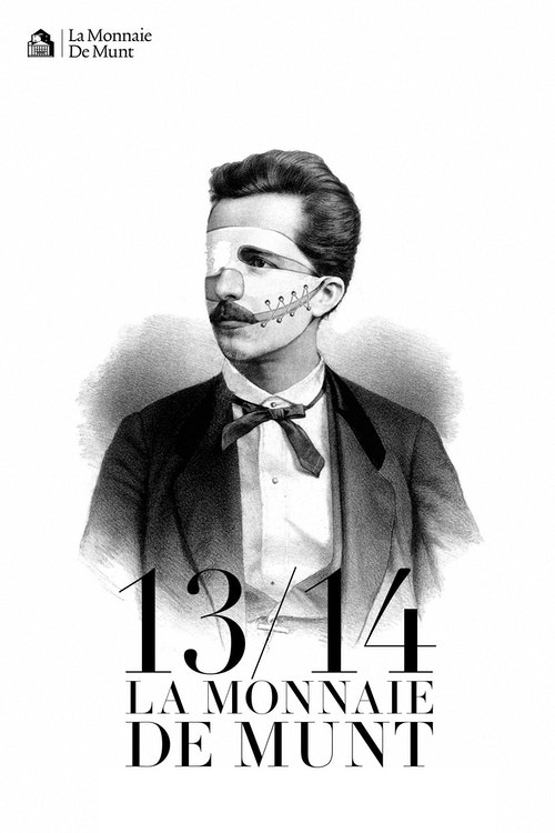 A poster with an illustration of an historical figure of La Monnaie De Munt in black and white