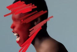 A visual of a black woman sideways, screaming, with red brush strokes on her face, designed for La Monnaie De Munt