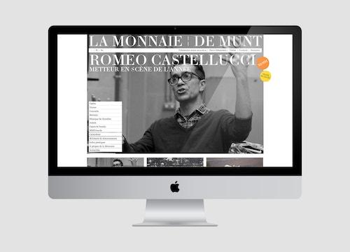 Simulation of the homepage of the website designed for La Monnaie De Munt on a desktop screen