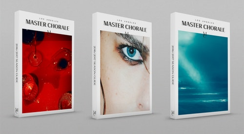 A row of three books designed for Los Angeles Master Chorale on a grey background
