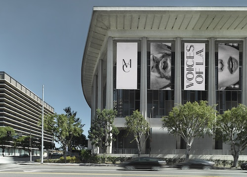 Posters designed for Los Angeles Master Chorale's communication on the side of the building