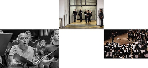 Collage of photos featuring musiciens and vocalists during their rehearsals and a concert