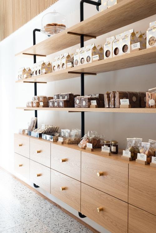 Maison Dandoy shelves of store in Antwerp