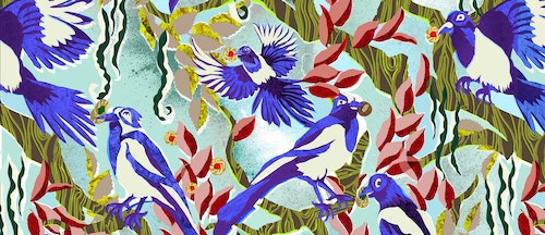 Maison Dandoy wallpaper with tropical birds eating biscuits