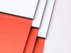 Close-up view of the bookbinding of the brand book