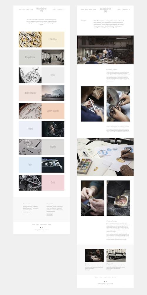 Different applications of the website developed for Maison de Greef on Desktop
