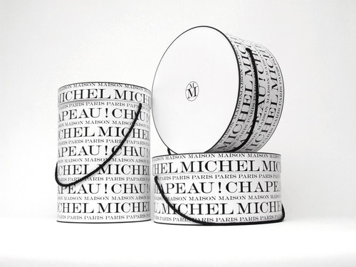 Three different sizes hat boxes branded for Maison Michel