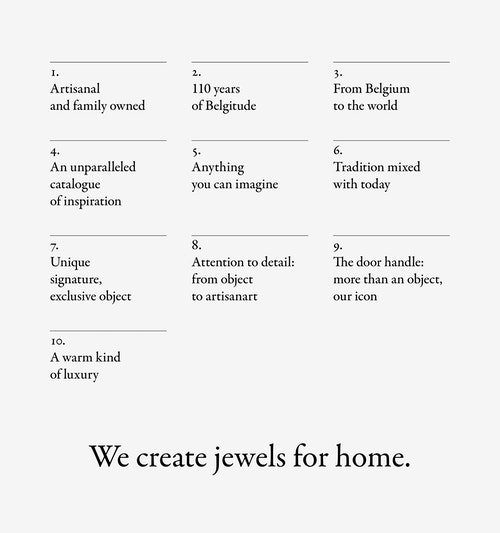 The manifesto of Maison Vervloet designed as a list of principals