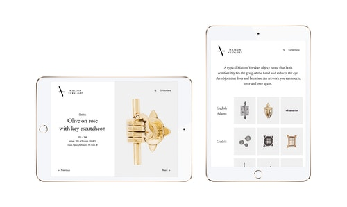 Pages of the website developed for Maison Vervloet displayed on tablet