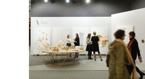 Visitors at the stand for Maison Vervloet during a Fair