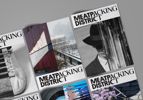 Series of covers designed for the Meatpacking District on a table