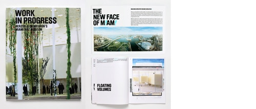 Different views of the magazines, cover and spreads designed for the Miami Art Museum on a white table